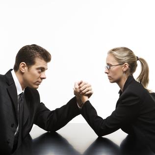 Man versus woman.